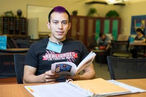 Photo: James Tensuan Junior Film student Heriberto Zavala works in Peer Connections, a support service that provides peer mentoring, peer tutoring and supplemental instruction.
