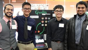 Photo: Ronald Dinoso Raghav Gupta, left, a computer science student, poses for a photo with his teammates at the Silicon Valley Innovation Challenge poster judging. His team included Bala Nyan Kyaw, software engineering, Ian Lam, business administration with a concentration in MIS, Ijaaz Omer, computer engineering and Nhat Trinh, general engineering.