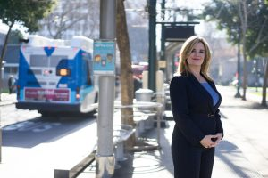 Photo: James Tensuan Karen Philbrick, PhD, executive director of the Mineta Transportation Institute, poses for a photo in downtown San Jose. SJSU and MTI have been selected to lead a CSU research consortium focused on transit issues in the state.