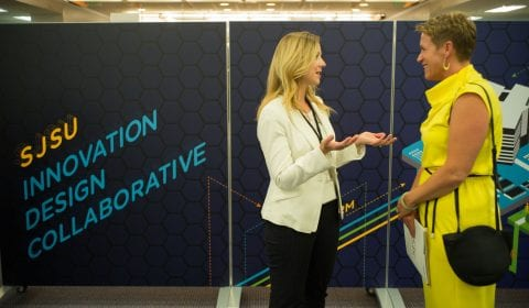Downtown College Prep Co-Founder and Executive Director Jennifer Andaluz (right) with SJSU Senior Director of Development Sabra Diridon at the soft launch of the Innovation Design Collaborative at San Jose State on Friday, June, 8, 2018. (James Tensuan/San Jose State University)