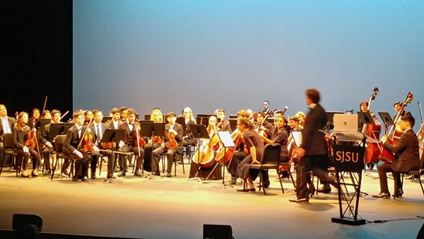 San Jose State University's Symphony prepares to play Beethoven's Seventh Symphony.
