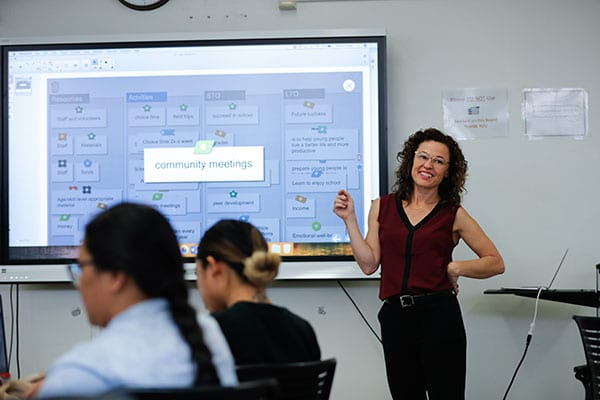 Photo: Jim Gensheimer Assistant Professor Ellen Middaugh, seen here teaching a class, conducts research focused on youth civic identity development and best classroom practices to build civic engagement.