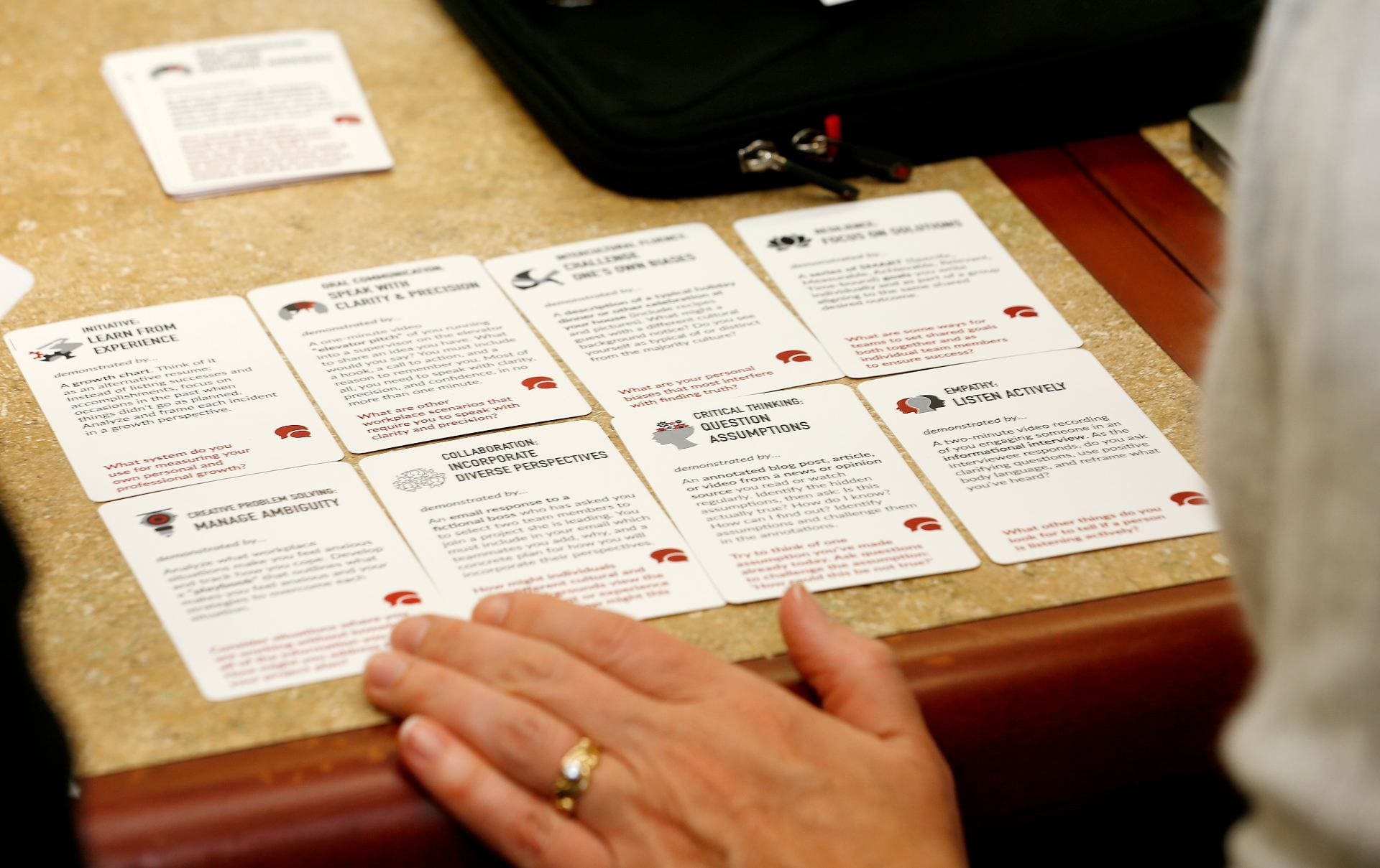 Cards display descriptions of some of the skills needed to acquire the eight digital badges Education Design Lab has created. ( Josie Lepe/San Jose State University )