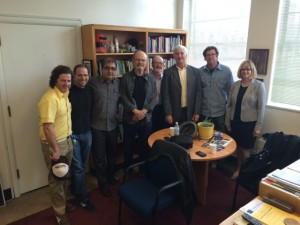 Kurtwood Smith with TRFT faculty and staff (L-R, Fred Guess, Nick Martinez, Babak Sarrafan, Kurtwood Smith, Jim Lefever, David Kahn, Barnaby Dallas, and Kathleen Brady who is Director of Development,  College of Humanities and the Arts)