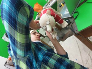 "A crew member works on a puppet for the animated short ""Behind My Behind"" (courtesy of Animation/Illustration)"