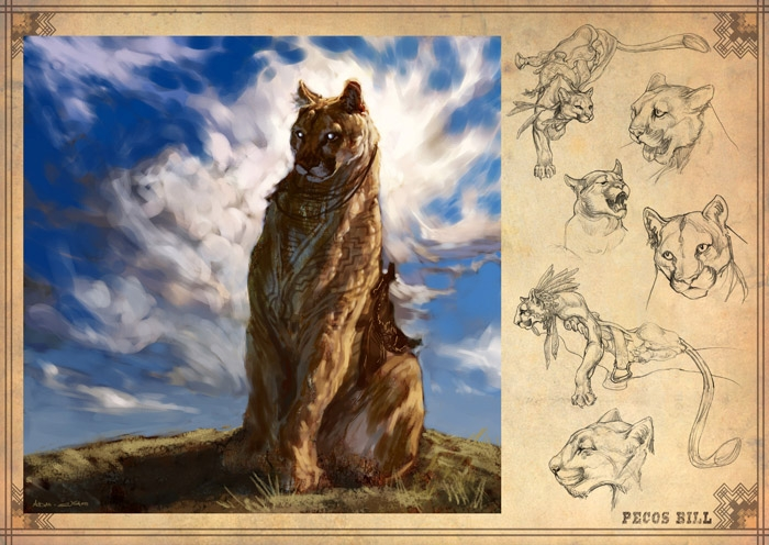 Concept art by Aidan Sugano submitted for DreamCrits. Shows cat in full color plus black-and-white sketches.