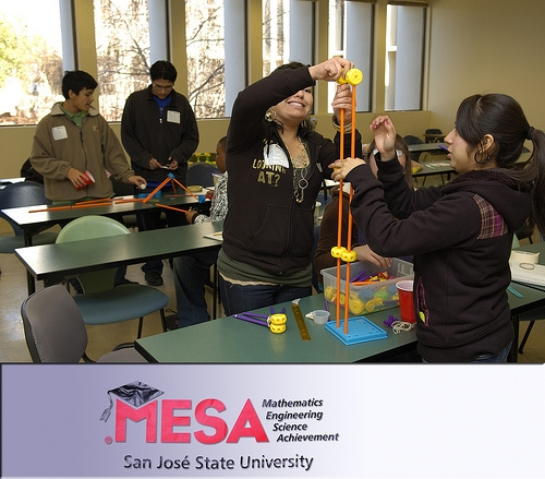 Students participate in MESA Day events.