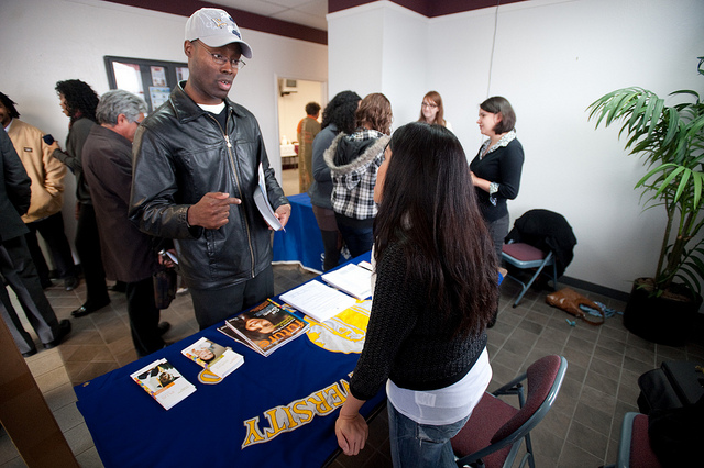 Community college student and SJSU admissions staff member at Super Sunday 2010