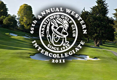 College-Am logo with photo of golf course behind it. Logo: 65th Annual Western Inter-Collegiate 2001 (Pasatiempo Golf Club since 1929)