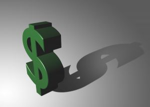A green dollar sign with a shadow behind it.