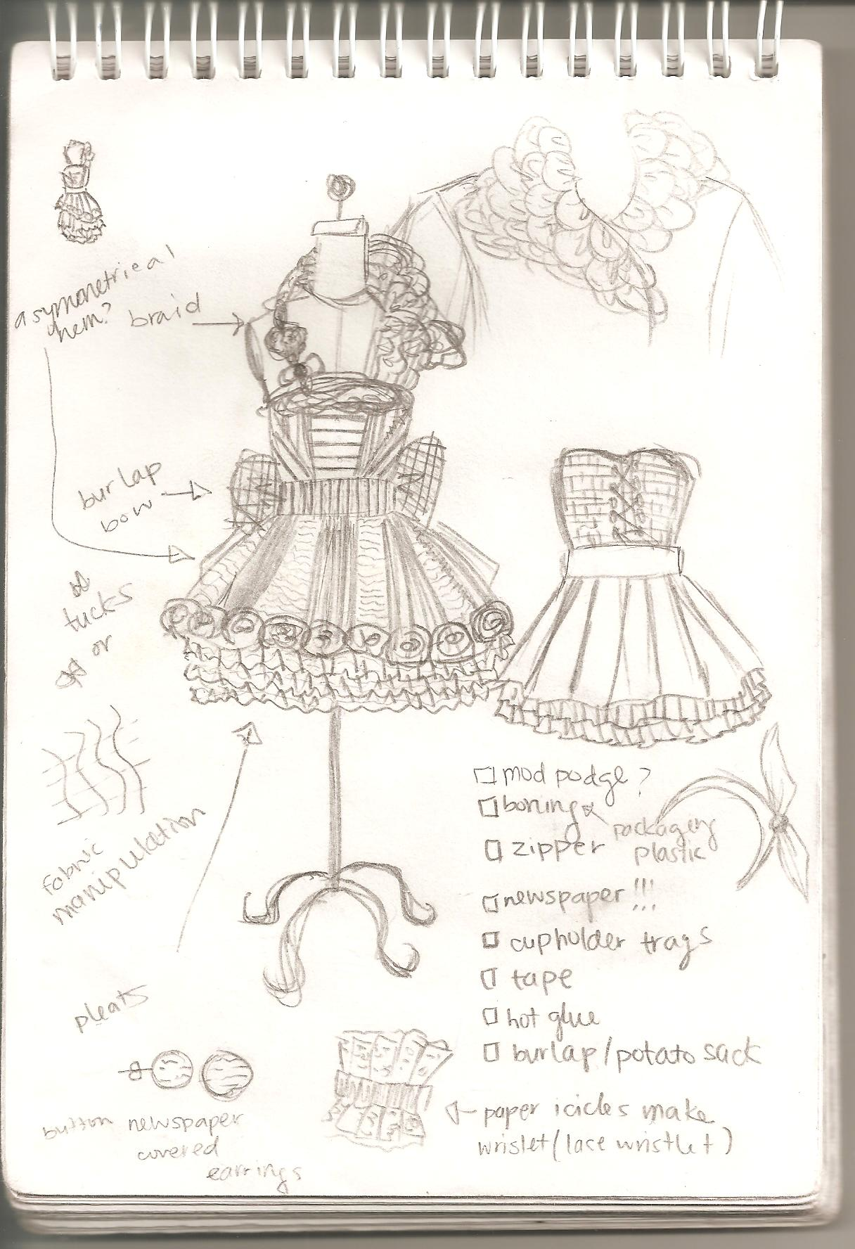 A student's sketch for Fashion Trashion, including a puffy sillouette skirt, with corset-like bodice
