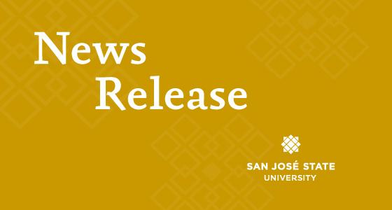 News Release, gold background, SJSU logos