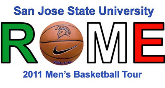 "San Jose State University ROME. 2011 Men's Basketball Tour Basketball used for the"" O"" in Rome."