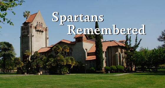 Spartans Remembered with image of Tower Hall in the background.