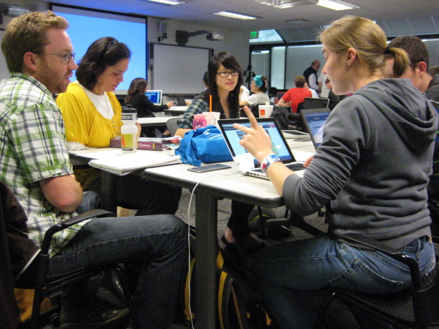 Students gathered around a table working on a group project.