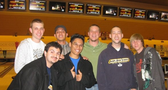 Spartans pose with professional bowler Robert Smith at a bowling alley in 2009. Top row, left to right: Justin Bautista, Brian Villatuya, professional bowler Robert Smith, David Doyle and Michael Grzyb. Bottom row, left to right: Pierre Ramos and Royce Agustin. Photo courtesy of Royce Agustin.