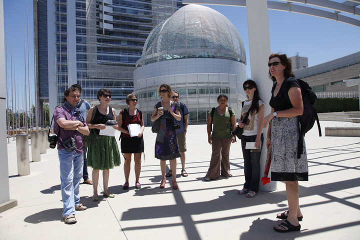 MFA Photo Exchange Students show two Russian Photographers in front of San Jose City Hall.