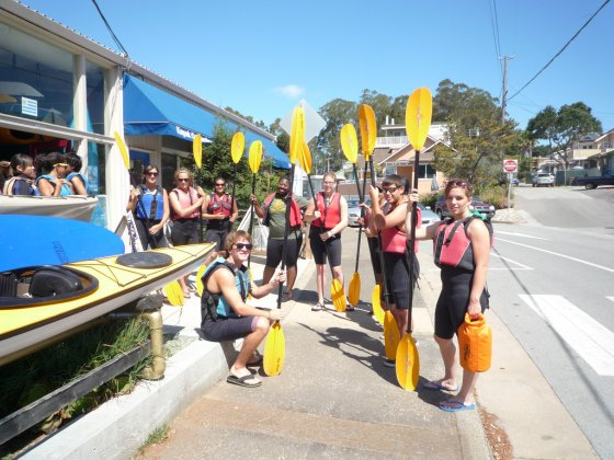 Students prepare for kayak trip.