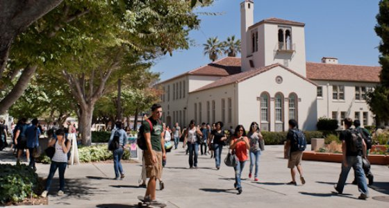 SJSU on a typical fall day, students walking near the Central Classroom Building