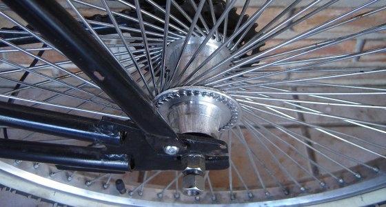 close up bike wheel spokes