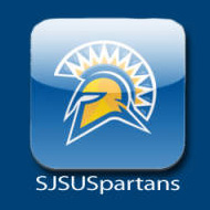A view of the SJSUSpartans app featuring the blue and gold spartan helmet with the SJSUSpartans text below it.