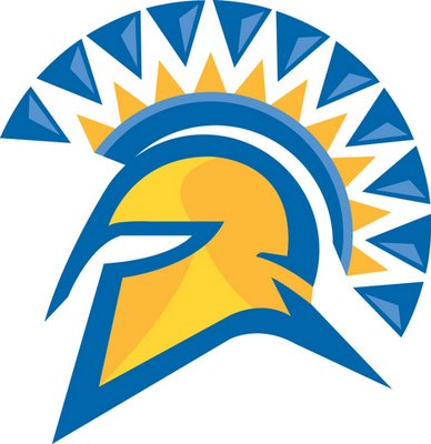 Image of the SJSU blue and gold spartan helmet.