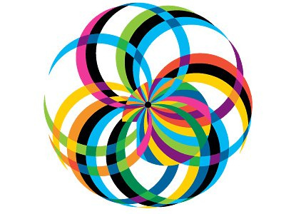 IBM social business logo showing globe wrapped in colorful, intertwined ribbons