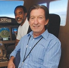 Kevin Jordan and colleagues in flight simulator