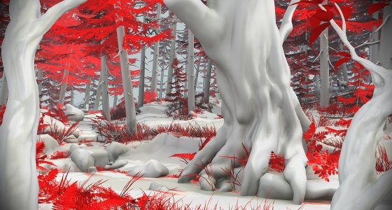 red, black and white picture of forest