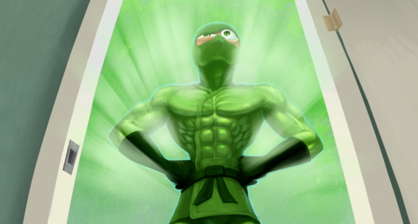 The Green Ninja, an animated green frog like character stands with his hands on on hps in the middle of a door way, wearing black long gloves and a ninja belt. Green light shines behind him.