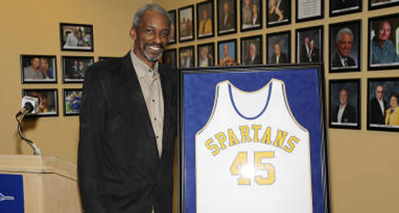 Spartan Darnell Hillman stands with his white basketball jersey with the number 45