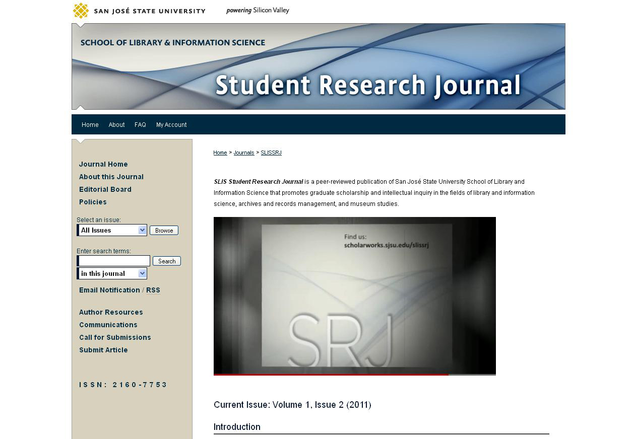 A computer screensheet of the homepage of the School of Library and Information Science's Student Research Journal, including a screenshot of a YouTube video