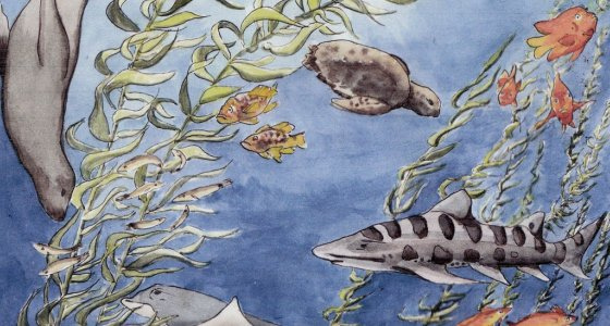 ocean mural with fish, turtles, sharks, kelp