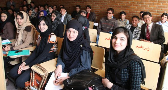 Students in class at Kabul University.