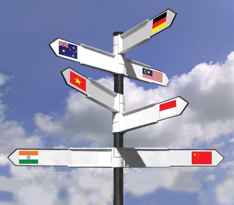 sign post pointing to many countries