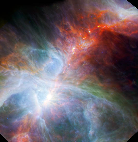 This new view of the Orion nebula highlights fledgling stars hidden in the gas and clouds. It shows infrared observations taken by NASA's Spitzer Space Telescope and the European Space Agency's Herschel mission, in which NASA plays an important role.