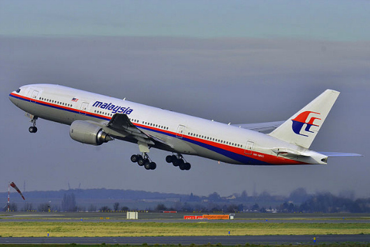 Malaysia Airlines Boeing 777-200ER (9M-MRO) taking off at Roissy-Charles de Gaulle Airport (LFPG) in France.