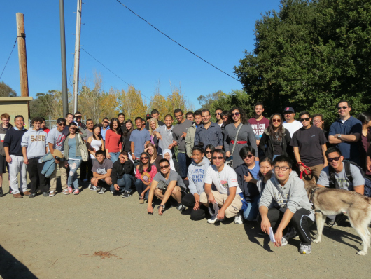 Civil engineering students on a field trip to field trip to Los Gatos Creek and Vasona Reservoir (courtesy of Juneseok Lee).