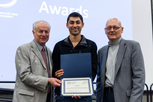 Sargon Jacob (center) received first  first place in the Best Overall Innovation category of the 2014 Silicon Valley Innovation Challenge (Robert C. Bain photo).