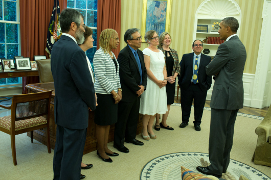 President Barack Obama meets with the 2013 winners of the Presidential Award for Excellence in Science, Mathematics, and Engineering Mentoring (PAESMEM) in the Oval Office, June 17, 2015. (Official White House Photo by Pete Souza)