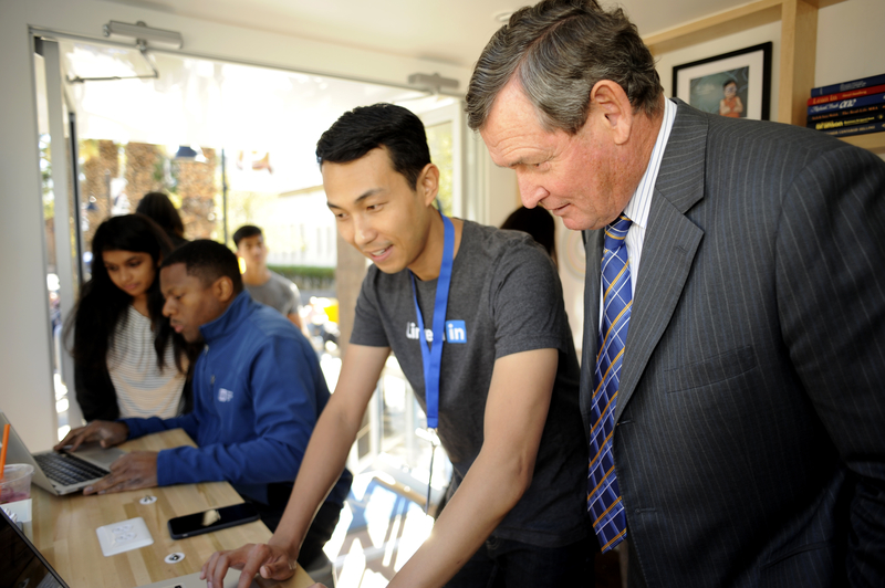 CSU Chancellor Tim White visits the LinkedIn Photo Studio at SJSU Nov. 4.