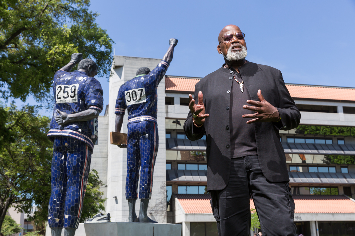 Harry Edwards in May 2016 at the Smith/Carlos sculpture on the grounds of San Jose State University (David Schmitz photo).