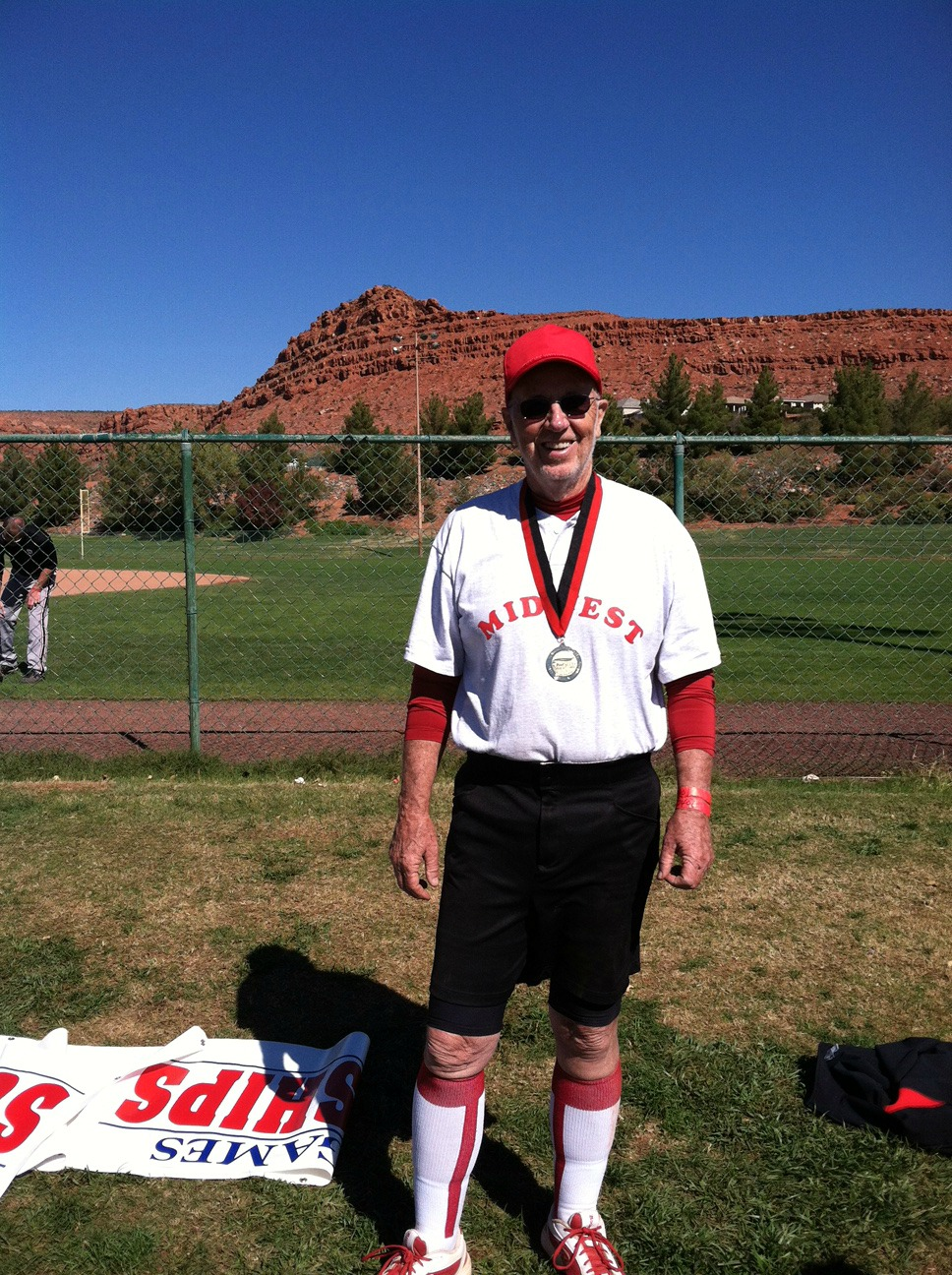 George at the Huntsman World Senior Games in St. George, Utah. His team won gold medal in an age bracket for players in their 80s).