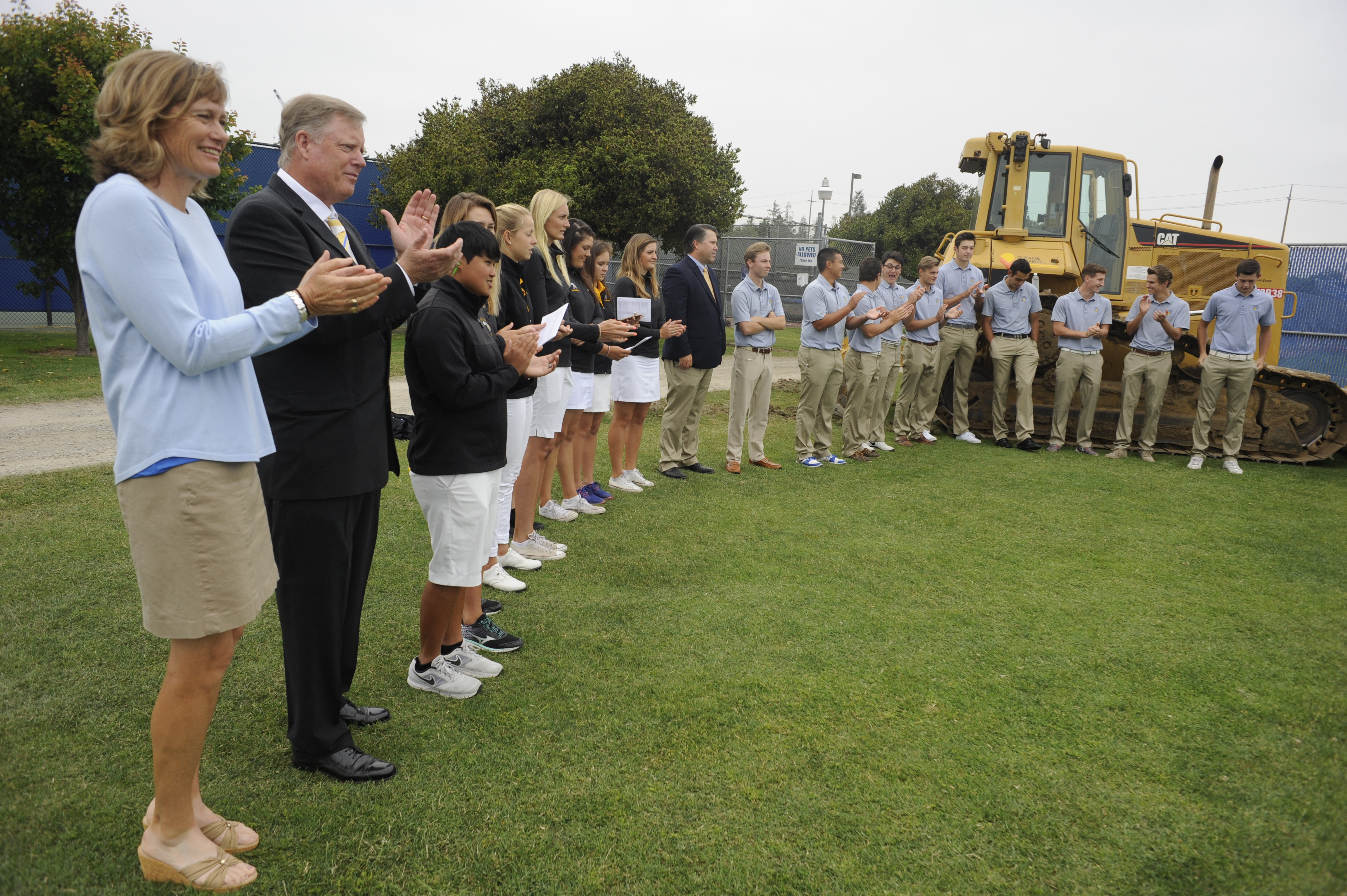 The men's and women's golf teams at the groundbreaking of the Spartan Golf Complex in May 2016 (Photo by: Neal Waters, '07 Geography, '16 MS Mass Communications)