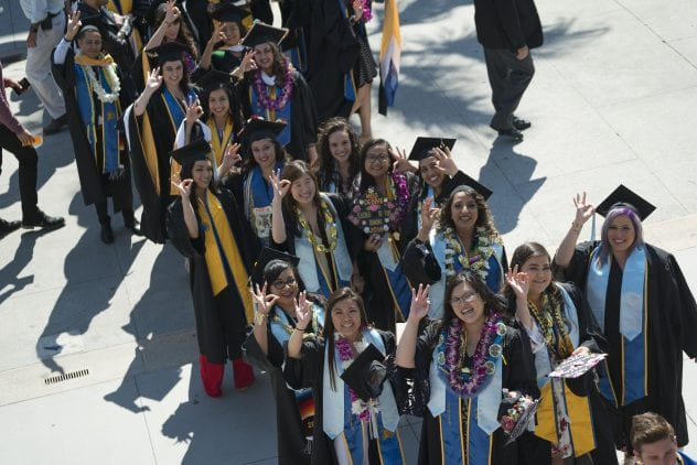 Graduates from the Connie L. Lurie College of Education line up outside the Event Center for Commencement in spring 2018. (Photo: Brandon Chew)