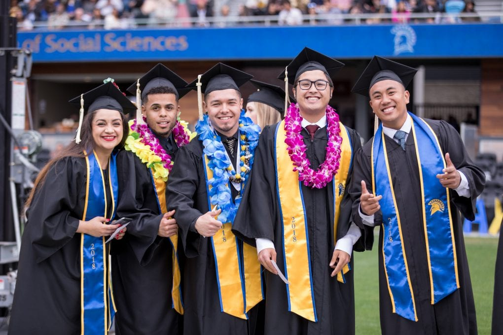 Graduates celebrate at Avaya Stadium during San Jose State University's College of Social Sciences Graduation in 2018. Photo: David Schmitz
