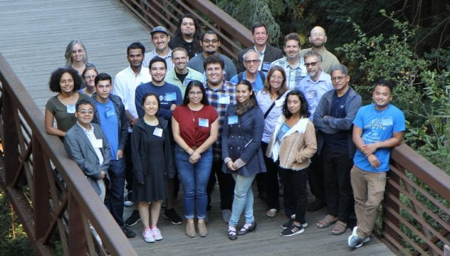 Students, faculty and administrators for the Cal-Bridge North program pose for a photo. Cal-Bridge scholars prepare to apply for PhD programs in physics and astronomy.