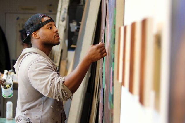 Titus Kaphar displays some of his work in his New Haven, Connecticut studio.(Photo by John D. and Catherine T. MacArthur Foundation)
