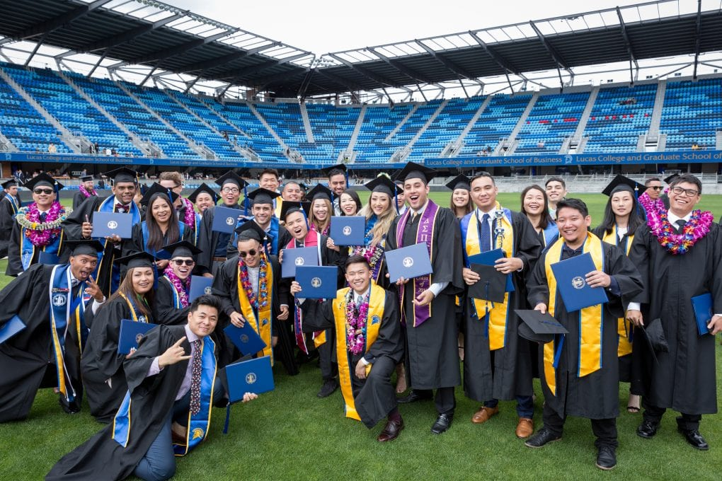 Lucas College and Graduate School of Business students celebrate following commencement in 2017.