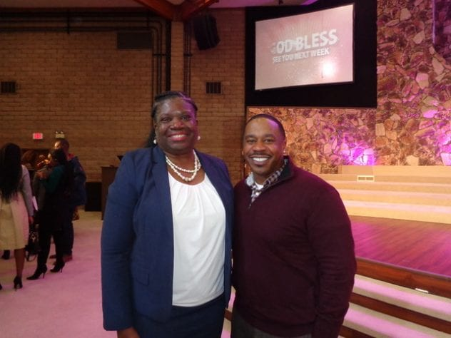 At left, Dr. Theodorea Berry, chair of the Department of African-American Studies, poses for a photo with Pastor Jason C. Reynolds during San Jose State University's Super Sunday event Feb. 10 at Emanuel Baptist Church.
